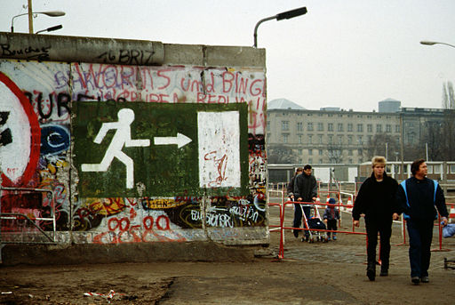 Fall of the Berlin Wall 1989, people walking
