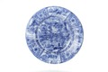 Fat av fajans från 1600-talets senare hälft med hus, figurer och blommor i blå underglasyrmålning - Skoklosters slott - 93550.tif