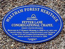 Fetter lane congregational chapel (waltham forest)
