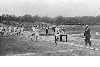 Athletics at the 1904 Summer Olympics – Men's 400 metres - Image: Finish of 400 m running event at the 1904 Summer Olympics