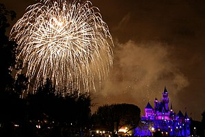 Fireworks at Disneyland in Anaheim, California.