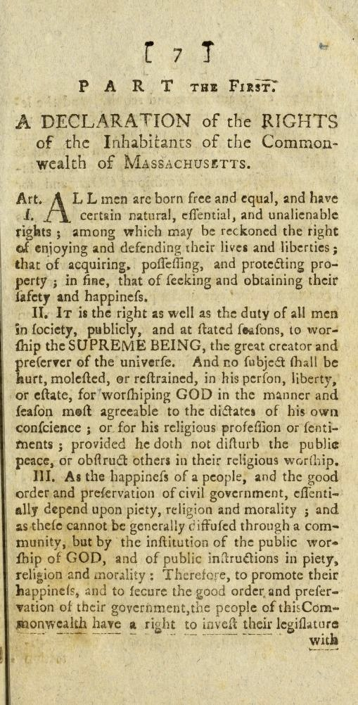 First Articles of the 1780 Massachusetts Constitution