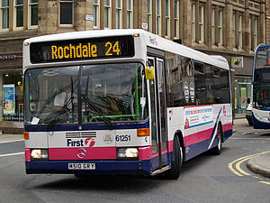 First Greater Manchester - Optare Prisma bodied Mercedes-Benz O405 on route 24 in Manchester in July 2008