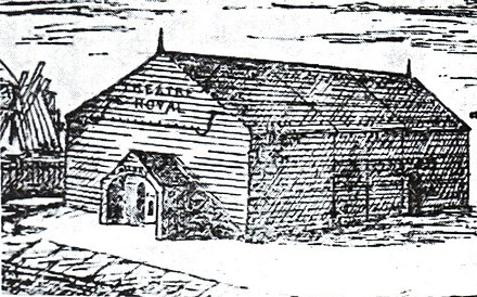 The first Theatre Royal, a wooden barn-type building which was situated behind the Running Horses pub in Bridge St.