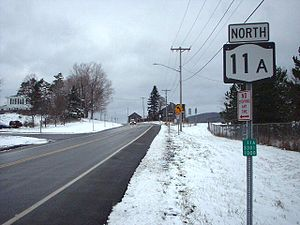New York State Route 11A - First reassurance and reference markers on NY 11A northbound