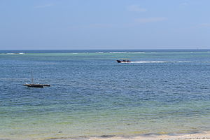 Fishing boats from the Reef Hotel during high tide in Mombasa, Kenya.jpg