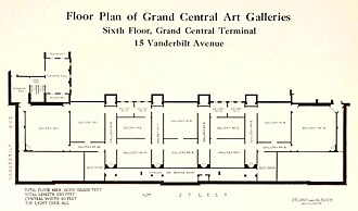 Grand Central Art Galleries - Floor plan of the Grand Central Art Galleries for their opening exhibition in 1923.