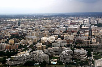 Foggy Bottom - Aerial view of Foggy Bottom. The Watergate Complex is in the foreground.