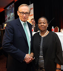 Foreign Minister Bob Carr with South Africa's Mining Minister Susan Shibango, 2012. Photo- AusAID (10695929445).jpg