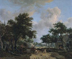 Meindert Hobbema - Forest landscape with a merry company in a cart, Rijksmuseum, c. 1665.