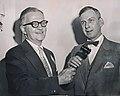 Former ANPA President William Dwight Jr., pres of Holyoke Transcript-Telegram, passes gavel to incoming president D. Tennant Bryan of Richmond (Va) Times-Dispatch (NYC, 1958).jpg