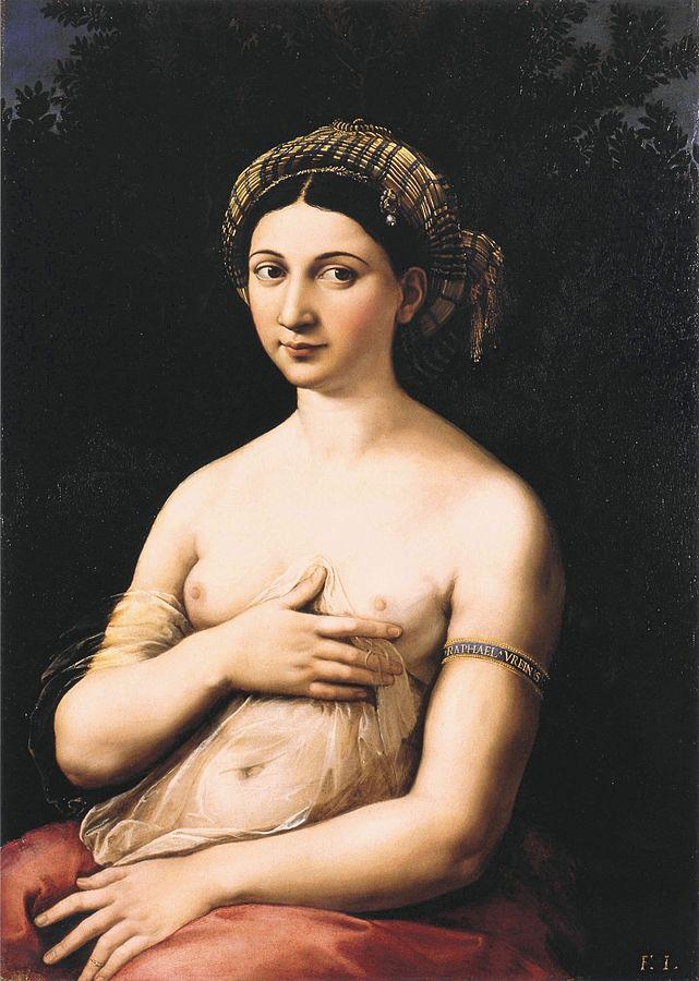 «Портрет молодой женщины (Форнарина)» (около 1518—1519). Как полагает большинство исследователей, на картине изображена возлюбленная и модель Рафаэля, Форнарина. После смерти Рафаэля Джулио Романо подрисовал на плече женщины браслет с надписью Raphael Urbinas.