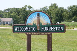 Sign leading into Forreston