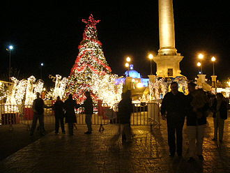Christmas in Mexico - Christmas tree and lights in the main plaza of the city of Chihuahua.