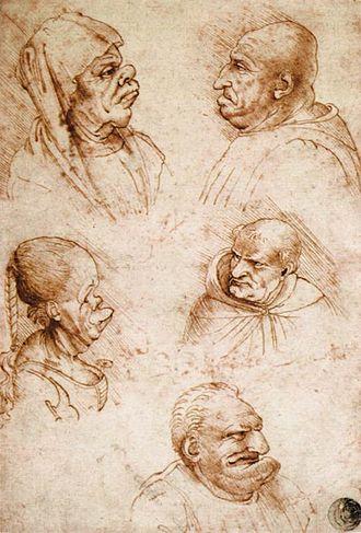 Francesco Melzi - Five Grotesque Heads, by Francesco Melzi, c.a. 1515
