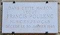 Francis Poulenc plaque - 5, rue de Médicis, Paris 6.jpg