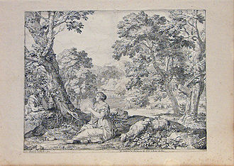 Franciscus de Neve (II) - Landscape with a shepherdess playing a tambourine
