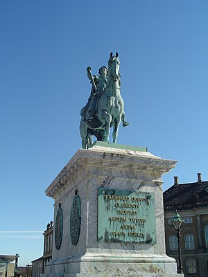 Jacques Saly - Jacque Saly's monumental sculpture of Frederik V on Horseback at Amalienborg Castle in Copenhagen, Denmark.