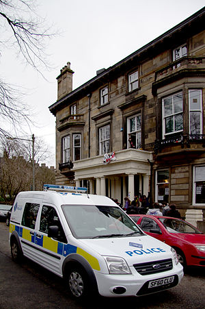 2011 Hetherington House Occupation - A police van outside Hetherington House during the eviction on 22 March 2011