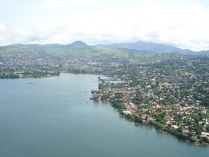 Aerial view of Freetown, Sierra Leone Taken on...