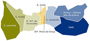 Setúbal - The civil parishes of Setúbal before 2013