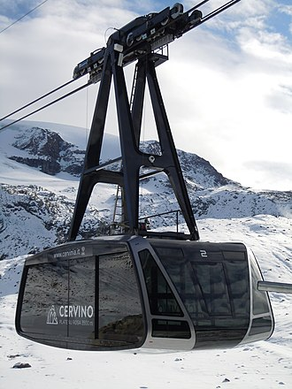 Aerial lift - Plateau Rosa aerial tramway, in Cervinia, Italy, moves 120 people at a time to 3480m glacier.