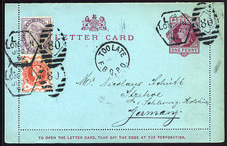 Postal stationery - UK letter card of 1892 with an imprinted stamp and perforations.