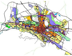 Zoning - The Zoning Scheme of the General Spatial Plan for the City of Skopje, Republic of Macedonia. Different urban zoning areas are represented by different colors.