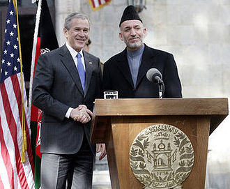 Politics of Afghanistan - Former U.S. President George W. Bush with Hamid Karzai in Kabul on March 1, 2006. United States-Afghanistan relations have improved since late 2001, especially after the Karzai administration was formed.