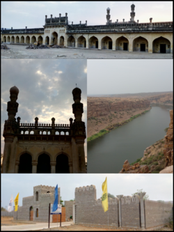 Montage of Gandikota clockwise from top to bottom: Gandikota Fort Main Entrance, Grand Penna River Canyon, AP Tourism Resort, Jumma Masjid
