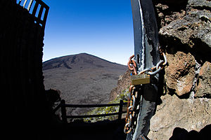 Piton de la Fournaise - The gate for the visitors who want to climb the volcano.
