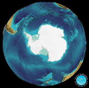 General Bathymetric Chart of the Oceans - Antarctic Ocean 3D visualization