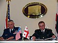 General Wald and Georgian Chief of Defense Colonel Nikoleishvili sign the Sustainment and Stability Operations Program (SSOP) agreement (March 29, 2005).jpg