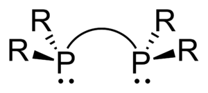 Diphosphines - Skeletal formula of a generic diphosphine ligand. R represents a side chain.