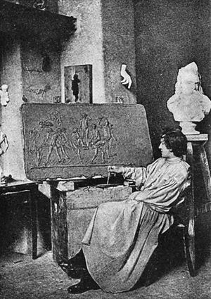 Gerhart Hauptmann -  Hauptmann at his atelier in Rome.