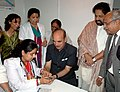 Ghulam Nabi Azad becomes the first visitor to undertake the diabetes testing at the health pavilion, at the 31st India International Trade Fair (IITF), in New Delhi. The Minister of State for Health and Family Welfare.jpg