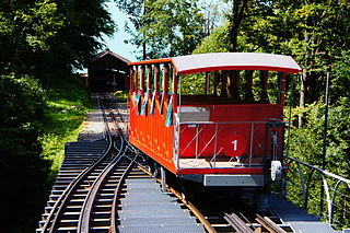funicular railway on the shore of Lake Brienz in the Swiss canton of Bern