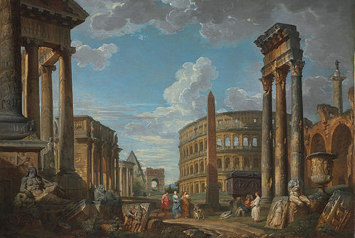 Giovanni Paolo Panini, An architectural capriccio with figures among Roman ruins