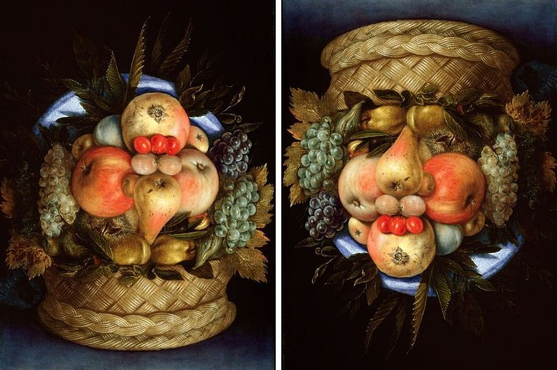 Giuseppe Archimboldo Reversible Head with Basket of Fruit, 1590