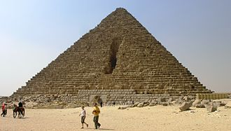 Pyramid of Menkaure - The damage to the Pyramid.