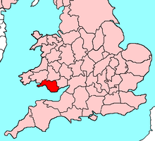 Map showing the location of Glamorgan