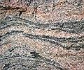 Gneiss (Archean; Windy Lake Northwest roadcut, Sudbury Impact Structure, Ontario, Canada) 4 (47735880691).jpg