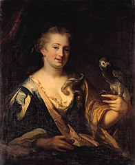 Lady holding a Parrot