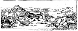 "Artist's rendering of Goust and its ruined ""City of the Hills"" (1899)."