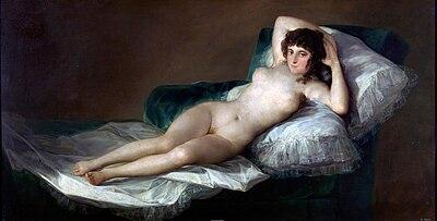 La maja desnuda de Goya  (1790-1800). Museo del Prado