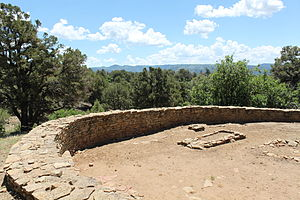 Chimney Rock National Monument - The Great Kiva was built in AD 1084 as part of the Chimney Rock settlement. Originally, it would have had an adobe plaster exterior. It was reconstructed and stabilized in 1972.
