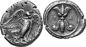 Thunderbolt - The thunderbolt pattern with an eagle on a coin from Olympia, Greece, 432-c.421 BC.