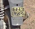 Greek old style moped plate TZN 1732.jpg