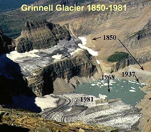 Glacier mass balance - Grinnell Glacier in Glacier National Park (U.S.) showing recession since 1850 of 1.1 km USGS