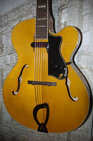 Pickguard - Guild arch-top jazz guitar with volume control mounted on floating pickguard